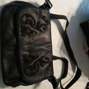 Preston   York black leather satchel style purse 23021307d6c24
